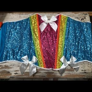 Women's Halloween Costume Rainbow Sequin Corset